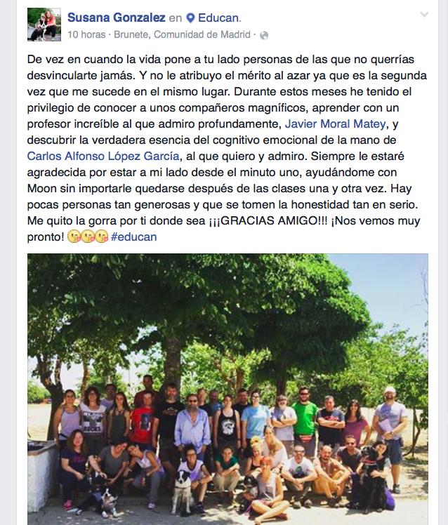 Post en Facebook de Susana González al terminar nuestro curso avanzado.